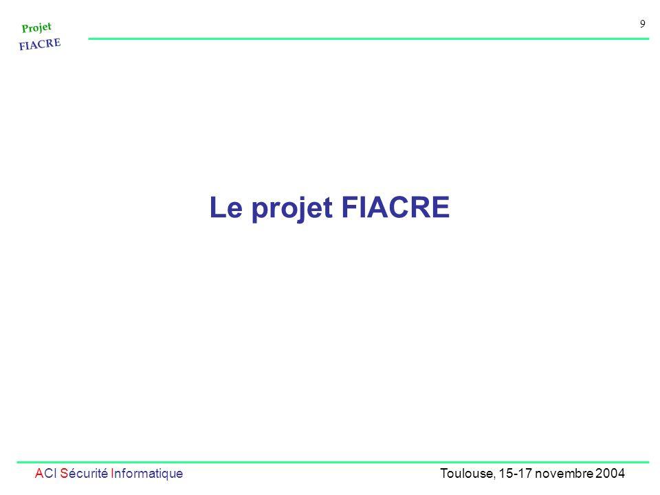 Projet FIACRE 9 ACI Sécurité InformatiqueToulouse, 15-17 novembre 2004 Le projet FIACRE