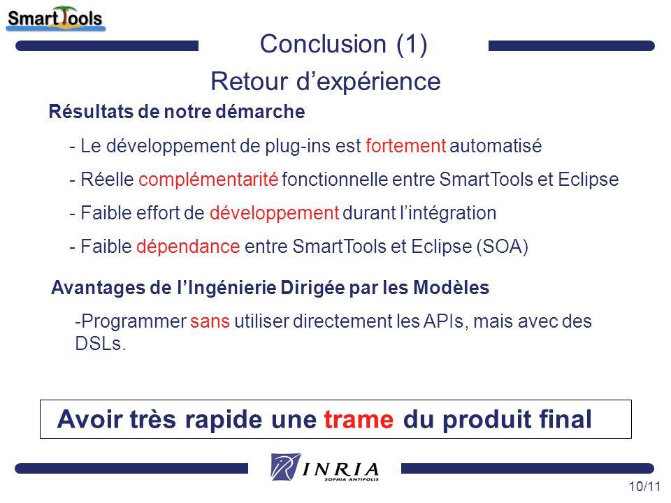 10/11 Conclusion (1) Retour dexpérience Résultats de notre démarche - Le développement de plug-ins est fortement automatisé - Réelle complémentarité f