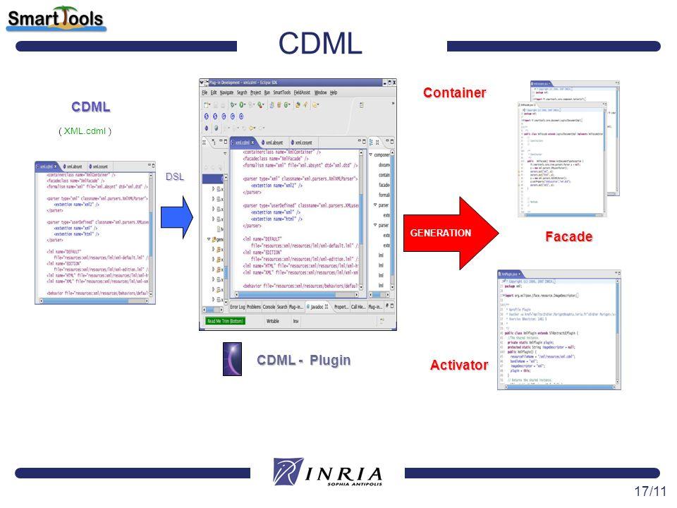 17/11 CDML GENERATION DSL CDML - Plugin Container Facade Activator CDML ( XML.cdml )