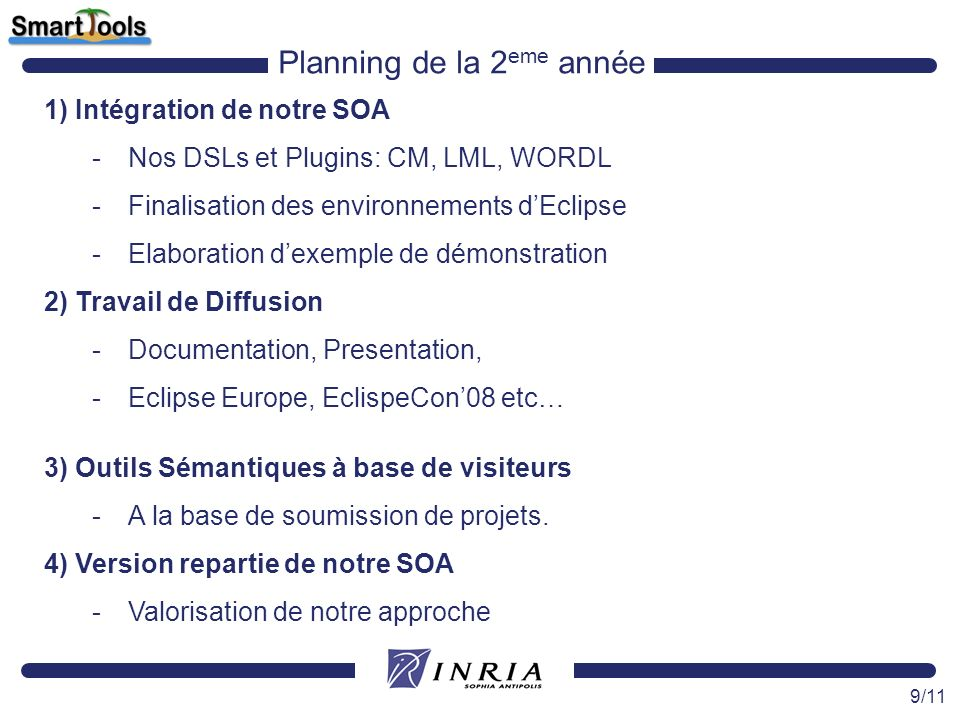 9/11 Planning de la 2 eme année 1) Intégration de notre SOA -Nos DSLs et Plugins: CM, LML, WORDL -Finalisation des environnements dEclipse -Elaboratio
