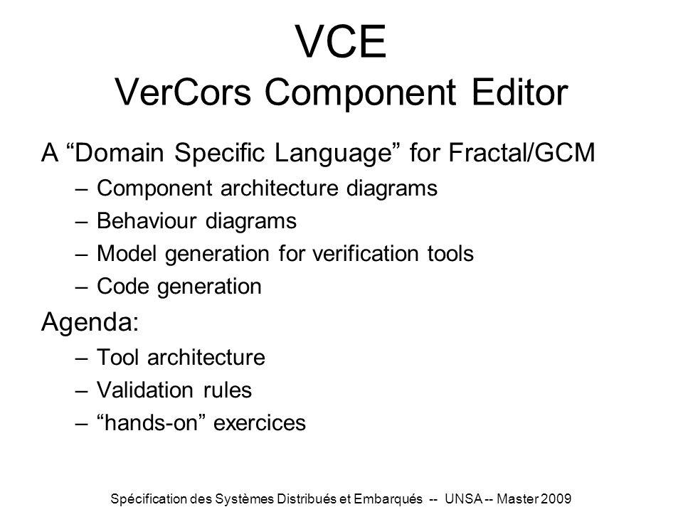 Spécification des Systèmes Distribués et Embarqués -- UNSA -- Master 2009 VCE VerCors Component Editor A Domain Specific Language for Fractal/GCM –Com