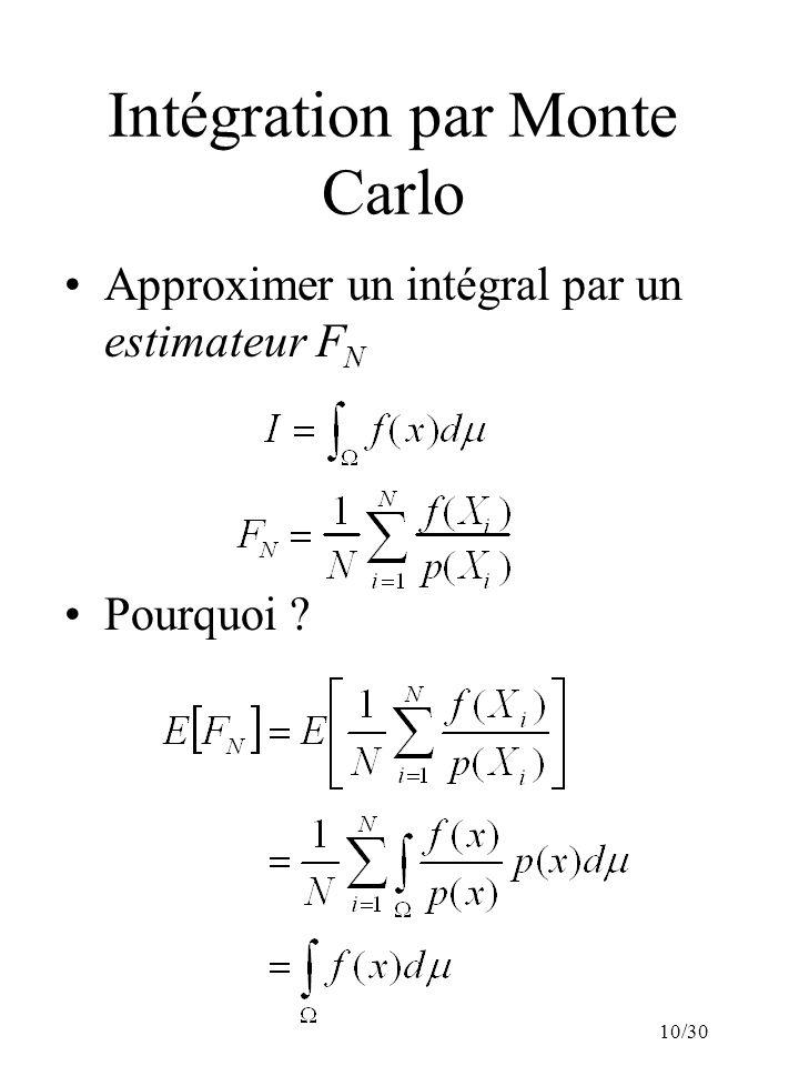 10/30 Intégration par Monte Carlo Approximer un intégral par un estimateur F N Pourquoi