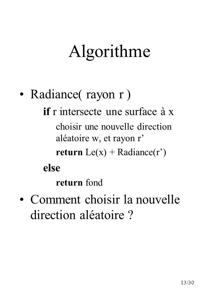 13/30 Algorithme Radiance( rayon r ) if r intersecte une surface à x choisir une nouvelle direction aléatoire w, et rayon r return Le(x) + Radiance(r) else return fond Comment choisir la nouvelle direction aléatoire