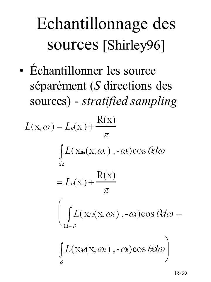 18/30 Echantillonnage des sources [Shirley96] Échantillonner les source séparément (S directions des sources) - stratified sampling