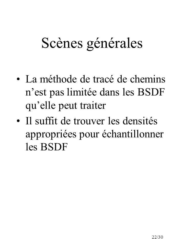 22/30 Scènes générales La méthode de tracé de chemins nest pas limitée dans les BSDF quelle peut traiter Il suffit de trouver les densités appropriées pour échantillonner les BSDF
