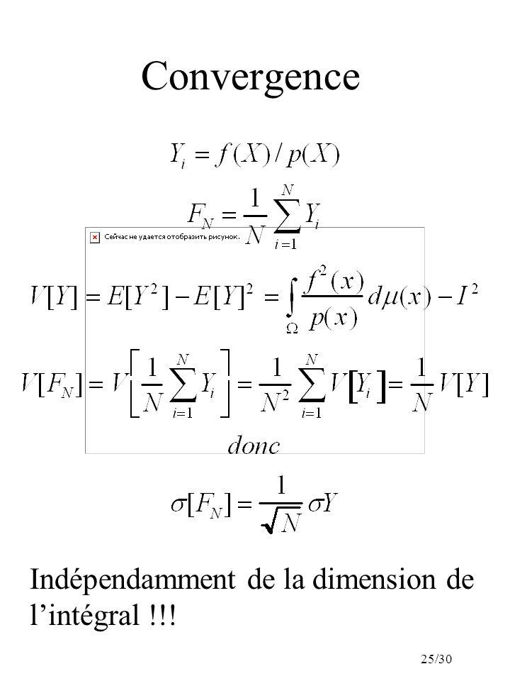 25/30 Convergence Indépendamment de la dimension de lintégral !!!