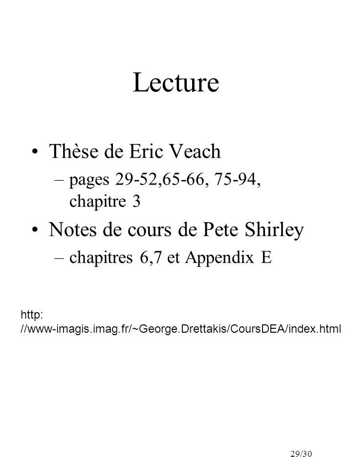 29/30 Lecture Thèse de Eric Veach –pages 29-52,65-66, 75-94, chapitre 3 Notes de cours de Pete Shirley –chapitres 6,7 et Appendix E http: //www-imagis.imag.fr/~George.Drettakis/CoursDEA/index.html