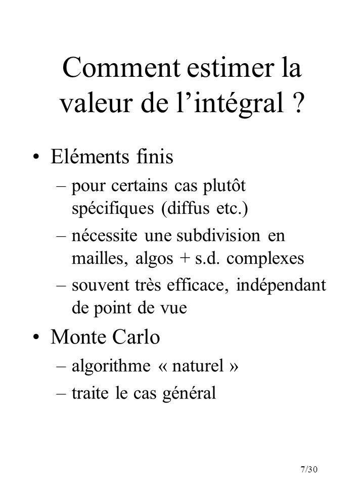7/30 Comment estimer la valeur de lintégral ? Eléments finis –pour certains cas plutôt spécifiques (diffus etc.) –nécessite une subdivision en mailles