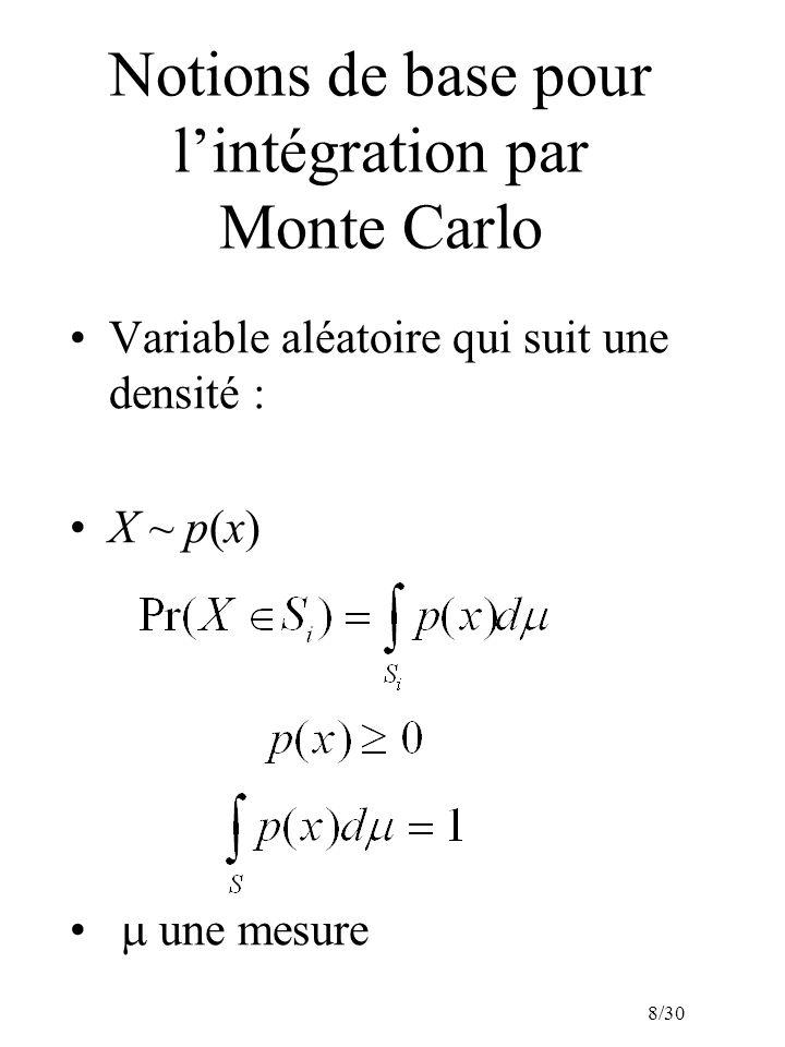 8/30 Notions de base pour lintégration par Monte Carlo Variable aléatoire qui suit une densité : X ~ p(x) une mesure