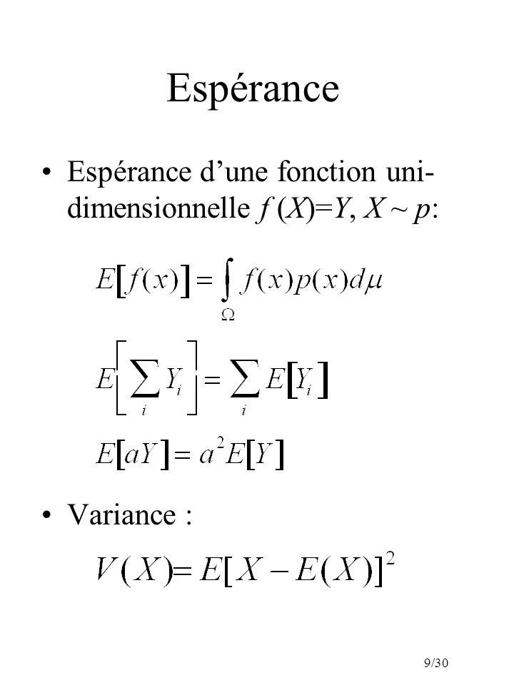 9/30 Espérance Espérance dune fonction uni- dimensionnelle f (X)=Y, X ~ p: Variance :