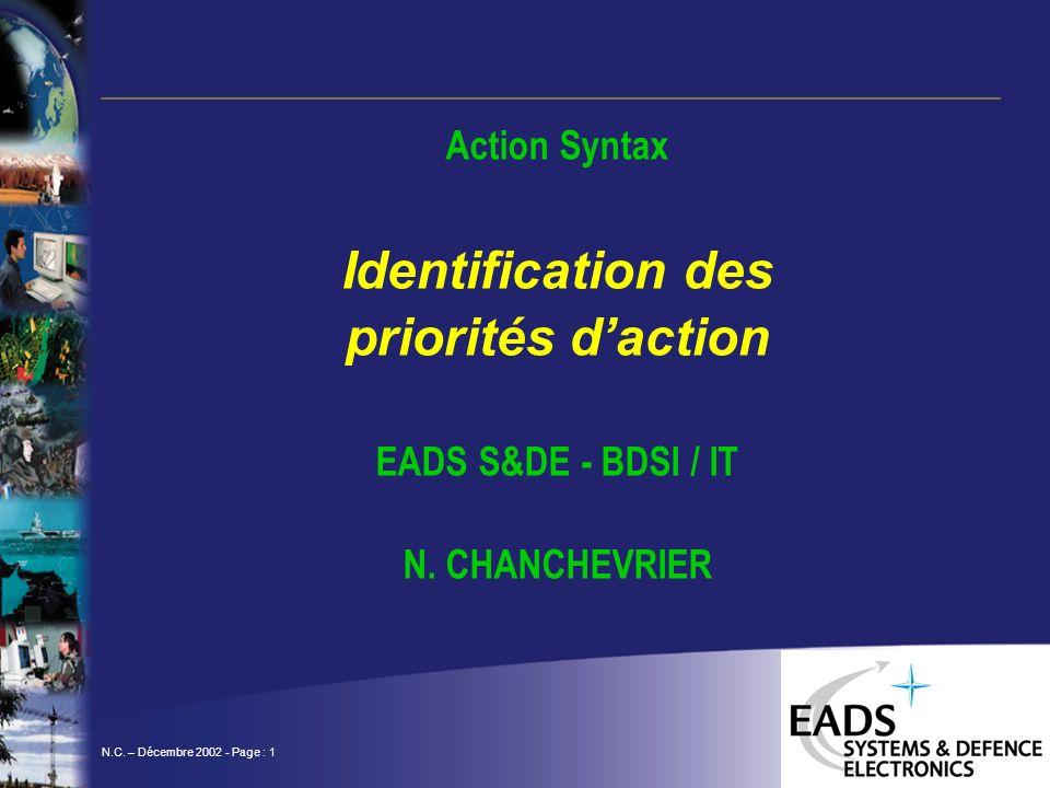 N.C. – Décembre 2002 - Page : 1 Action Syntax Identification des priorités daction EADS S&DE - BDSI / IT N. CHANCHEVRIER