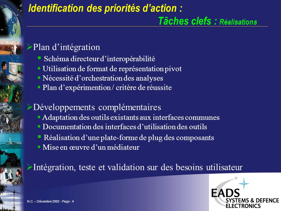 N.C. – Décembre 2002 - Page : 4 Plan dintégration Schéma directeur dinteropérabilité Utilisation de format de représentation pivot Nécessité dorchestr