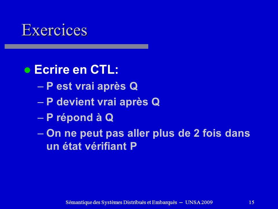 Sémantique des Systèmes Distribués et Embarqués -- UNSA 200915 Exercices Ecrire en CTL: –P est vrai après Q –P devient vrai après Q –P répond à Q –On
