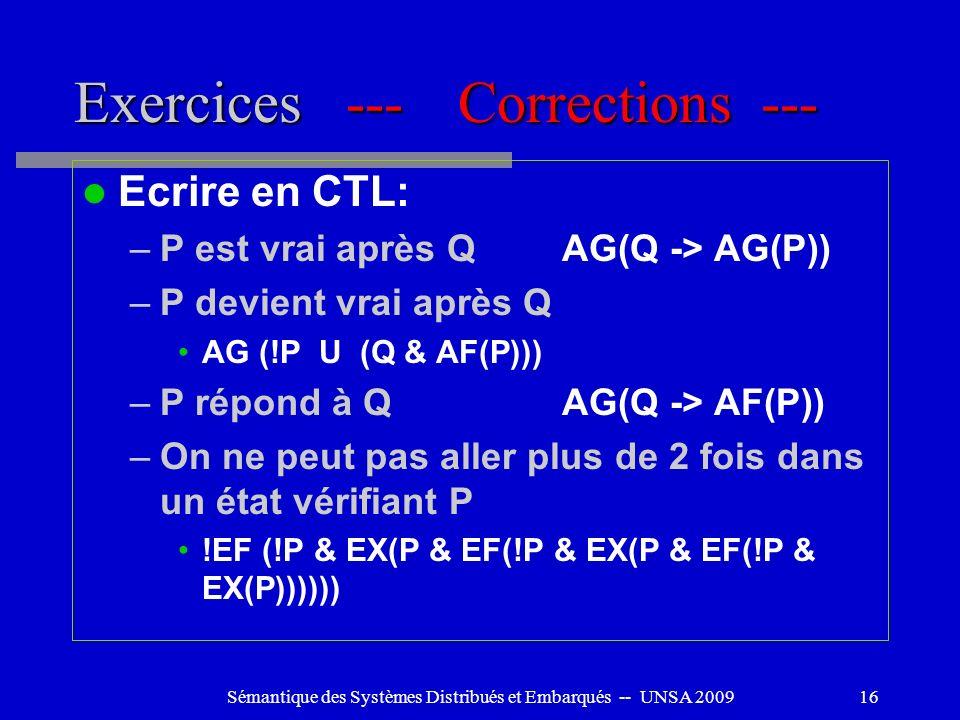 Sémantique des Systèmes Distribués et Embarqués -- UNSA 200916 Exercices ---Corrections --- Ecrire en CTL: –P est vrai après QAG(Q -> AG(P)) –P devien