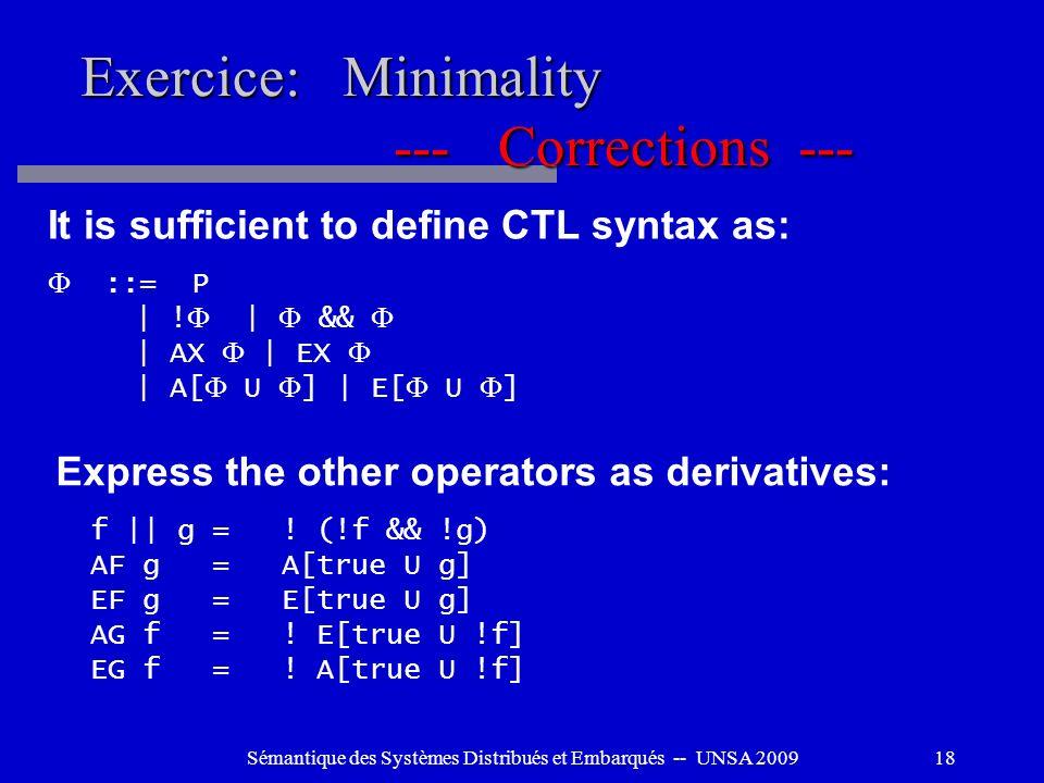 Sémantique des Systèmes Distribués et Embarqués -- UNSA 200918 Exercice: Minimality ---Corrections --- It is sufficient to define CTL syntax as: ::= P