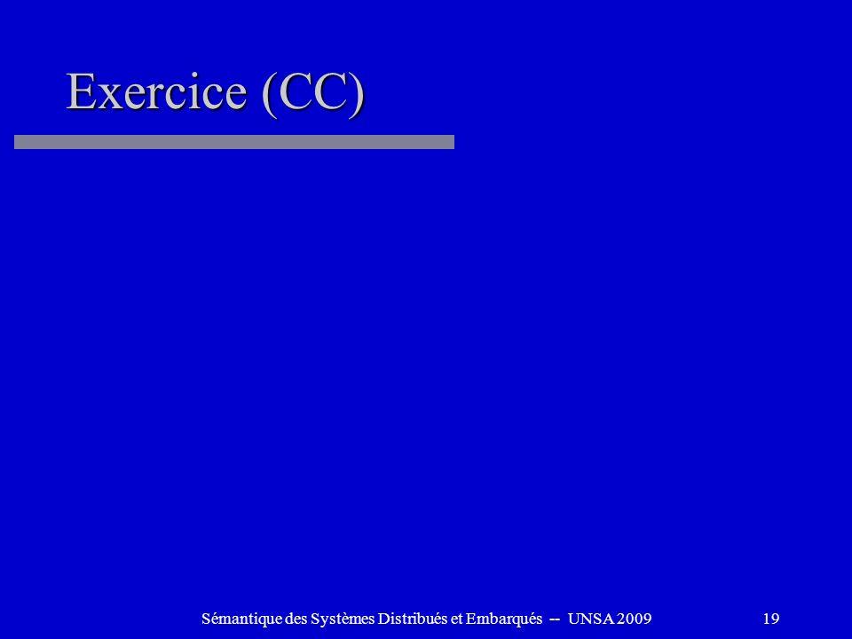 Sémantique des Systèmes Distribués et Embarqués -- UNSA 200919 Exercice (CC)