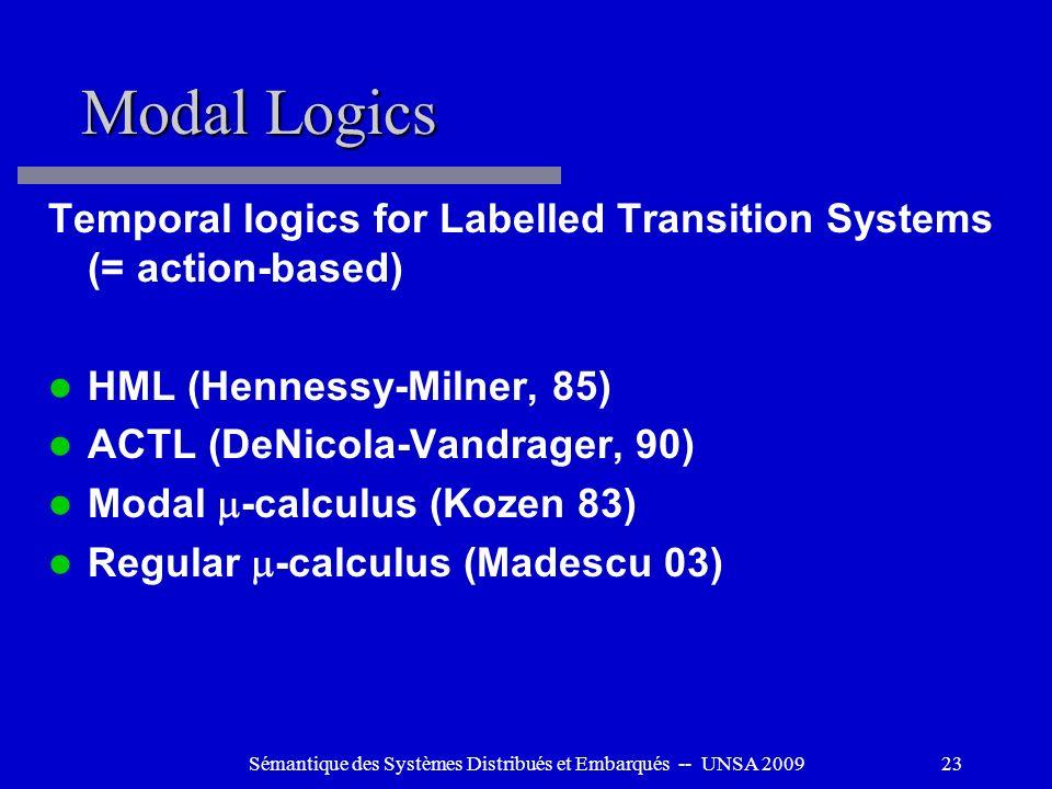 Sémantique des Systèmes Distribués et Embarqués -- UNSA 200923 Modal Logics Temporal logics for Labelled Transition Systems (= action-based) HML (Henn