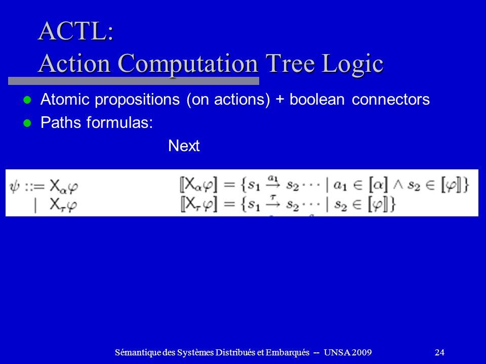 Sémantique des Systèmes Distribués et Embarqués -- UNSA 200924 ACTL: Action Computation Tree Logic Atomic propositions (on actions) + boolean connecto