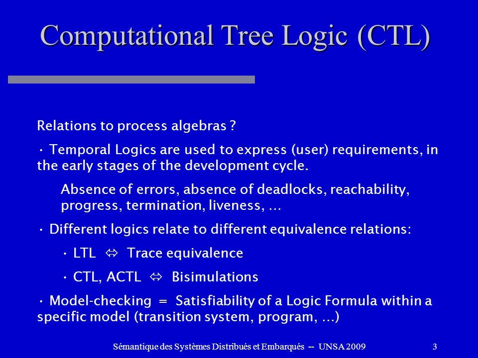 Sémantique des Systèmes Distribués et Embarqués -- UNSA 20093 Computational Tree Logic (CTL) Relations to process algebras ? Temporal Logics are used