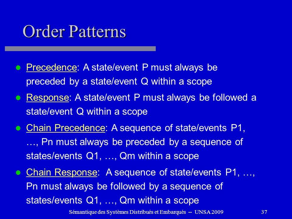 Sémantique des Systèmes Distribués et Embarqués -- UNSA 200937 Order Patterns Precedence: A state/event P must always be preceded by a state/event Q w