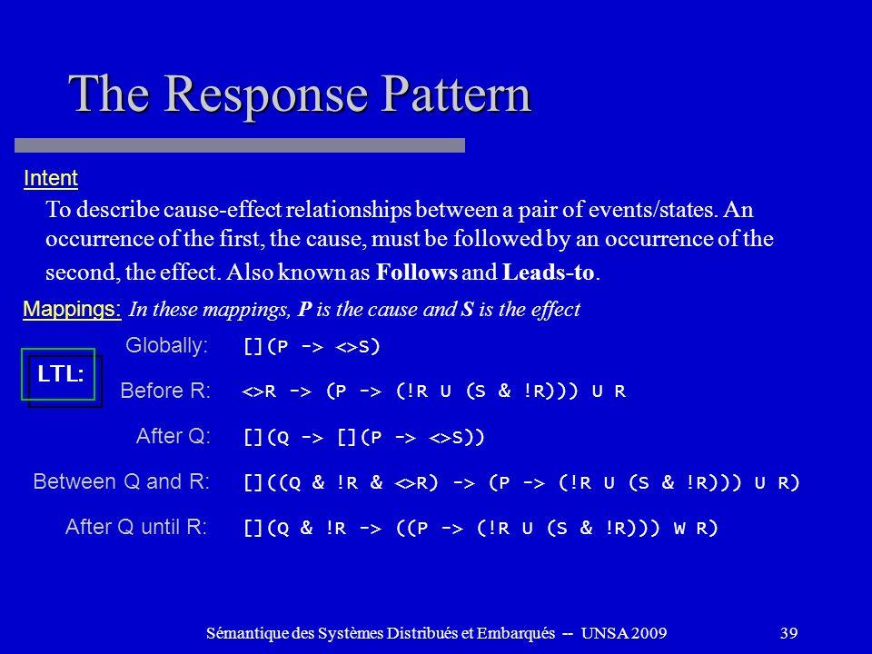 Sémantique des Systèmes Distribués et Embarqués -- UNSA 200939 The Response Pattern To describe cause-effect relationships between a pair of events/st