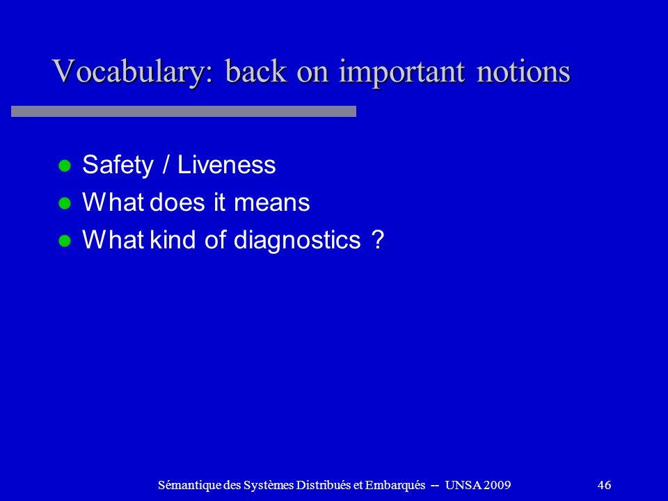 Sémantique des Systèmes Distribués et Embarqués -- UNSA 200946 Vocabulary: back on important notions Safety / Liveness What does it means What kind of