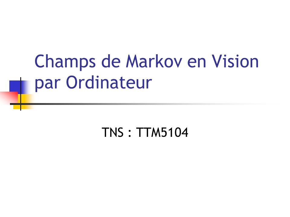 Champs de Markov en Vision par Ordinateur TNS : TTM5104