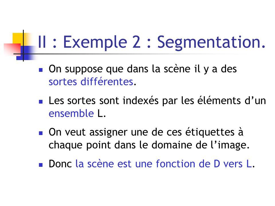 II : Exemple 2 : Segmentation. On suppose que dans la scène il y a des sortes différentes. Les sortes sont indexés par les éléments dun ensemble L. On