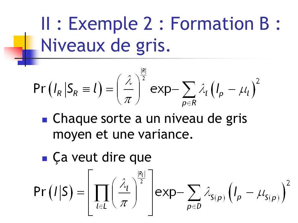 II : Exemple 2 : Formation B : Niveaux de gris. Chaque sorte a un niveau de gris moyen et une variance. Ça veut dire que