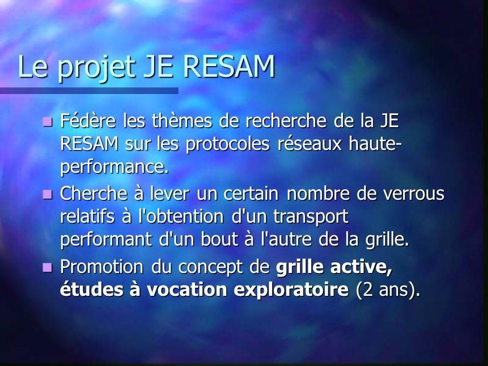 Le projet JE RESAM Fédère les thèmes de recherche de la JE RESAM sur les protocoles réseaux haute- performance. Fédère les thèmes de recherche de la J