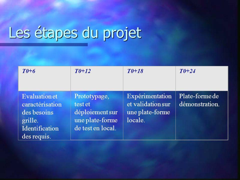 Les étapes du projet T0+6T0+12T0+18T0+24 Evaluation et caractérisation des besoins grille. Identification des requis. Prototypage, test et déploiement