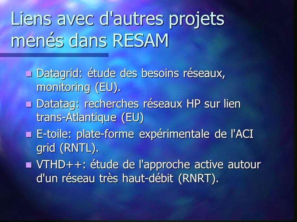Liens avec d'autres projets menés dans RESAM Datagrid: étude des besoins réseaux, monitoring (EU). Datagrid: étude des besoins réseaux, monitoring (EU