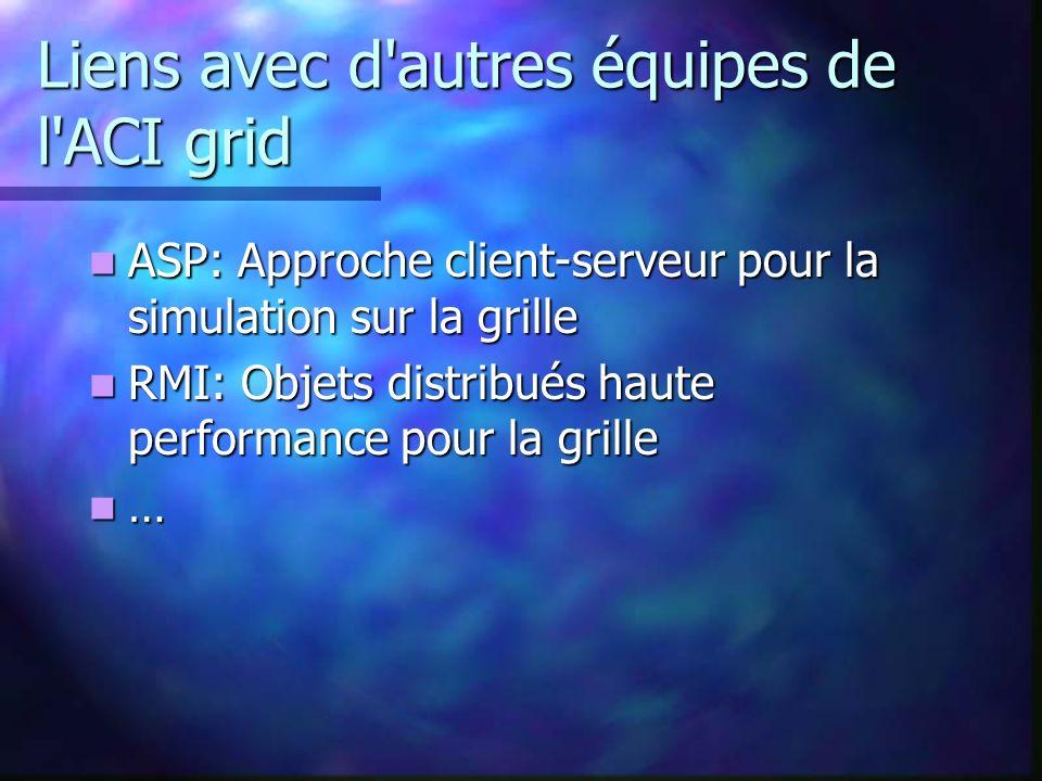 Liens avec d autres équipes de l ACI grid ASP: Approche client-serveur pour la simulation sur la grille ASP: Approche client-serveur pour la simulation sur la grille RMI: Objets distribués haute performance pour la grille RMI: Objets distribués haute performance pour la grille …