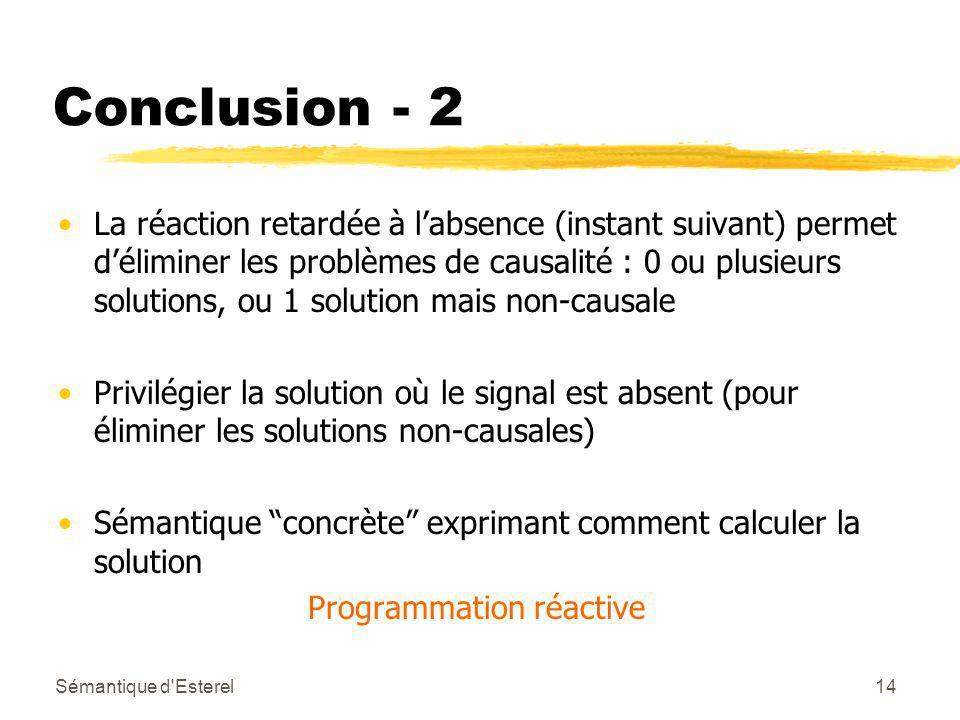 Sémantique d Esterel14 Conclusion - 2 La réaction retardée à labsence (instant suivant) permet déliminer les problèmes de causalité : 0 ou plusieurs solutions, ou 1 solution mais non-causale Privilégier la solution où le signal est absent (pour éliminer les solutions non-causales) Sémantique concrète exprimant comment calculer la solution Programmation réactive