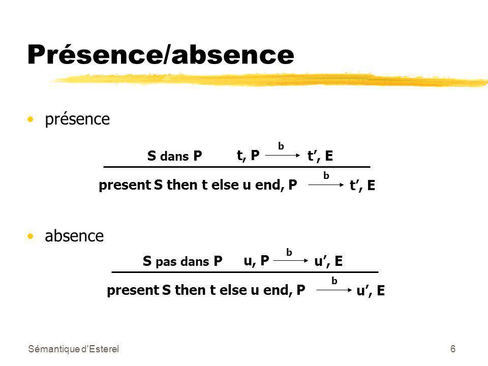 Sémantique d Esterel6 Présence/absence présence absence b t, E b present S then t else u end, P t, P S dans P b u, E present S then t else u end, P u, P S pas dans P b