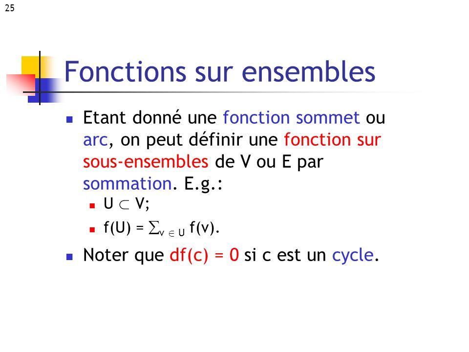 25 Fonctions sur ensembles Etant donné une fonction sommet ou arc, on peut définir une fonction sur sous-ensembles de V ou E par sommation. E.g.: U ½