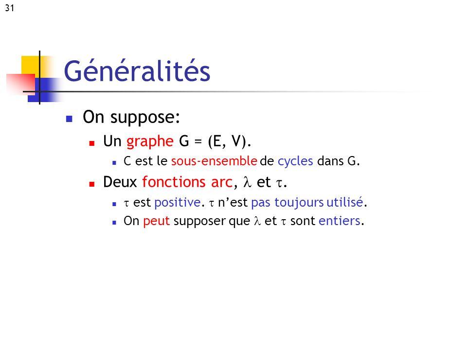 31 Généralités On suppose: Un graphe G = (E, V). C est le sous-ensemble de cycles dans G. Deux fonctions arc, et. est positive. nest pas toujours util