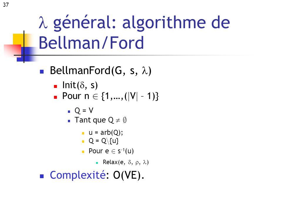 37 général: algorithme de Bellman/Ford BellmanFord(G, s, ) Init(, s) Pour n 2 {1,…,( j V j – 1)} Q = V Tant que Q ; u = arb(Q); Q = Q n {u} Pour e 2 s