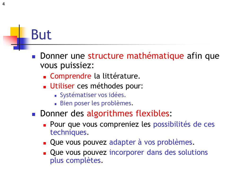 4 But Donner une structure mathématique afin que vous puissiez: Comprendre la littérature. Utiliser ces méthodes pour: Systématiser vos idées. Bien po