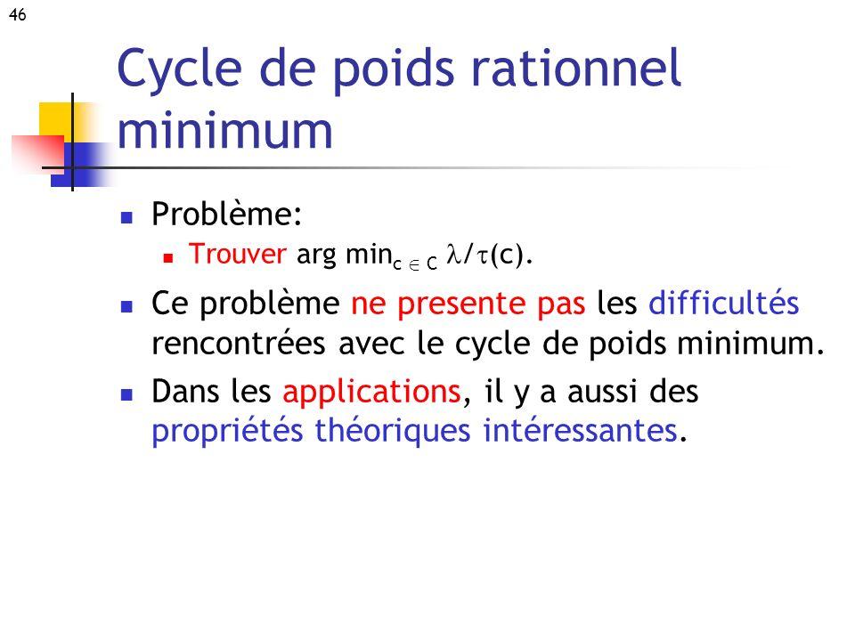 46 Cycle de poids rationnel minimum Problème: Trouver arg min c 2 C / (c). Ce problème ne presente pas les difficultés rencontrées avec le cycle de po