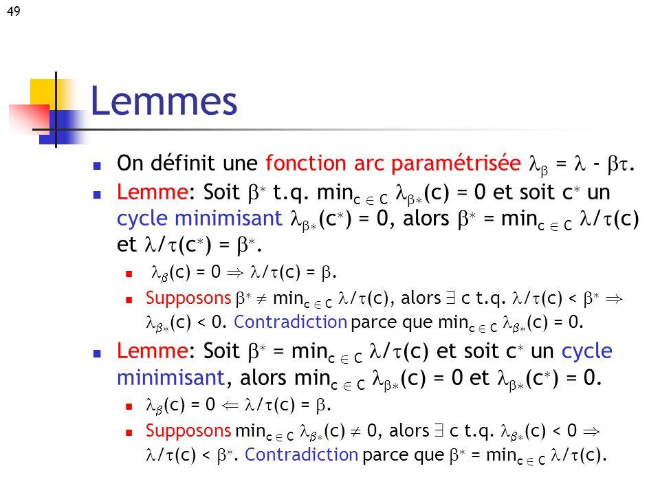49 Lemmes On définit une fonction arc paramétrisée = -. Lemme: Soit ¤ t.q. min c 2 C ¤ (c) = 0 et soit c ¤ un cycle minimisant ¤ (c ¤ ) = 0, alors ¤ =