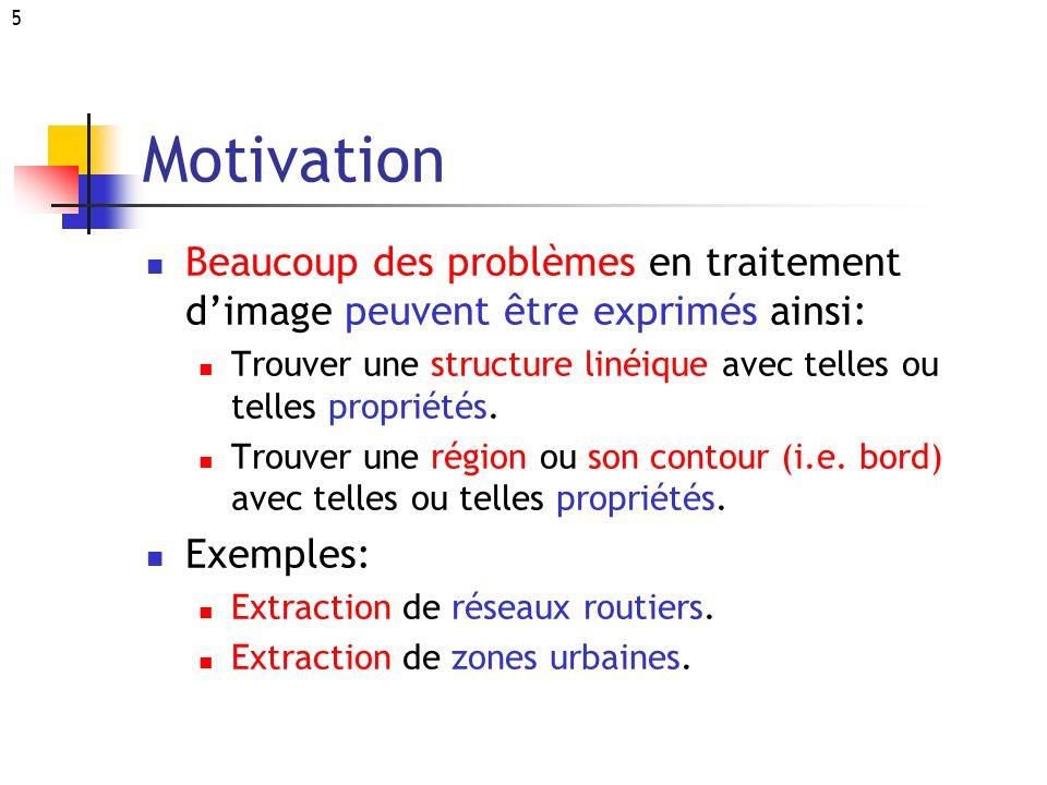 5 Motivation Beaucoup des problèmes en traitement dimage peuvent être exprimés ainsi: Trouver une structure linéique avec telles ou telles propriétés.