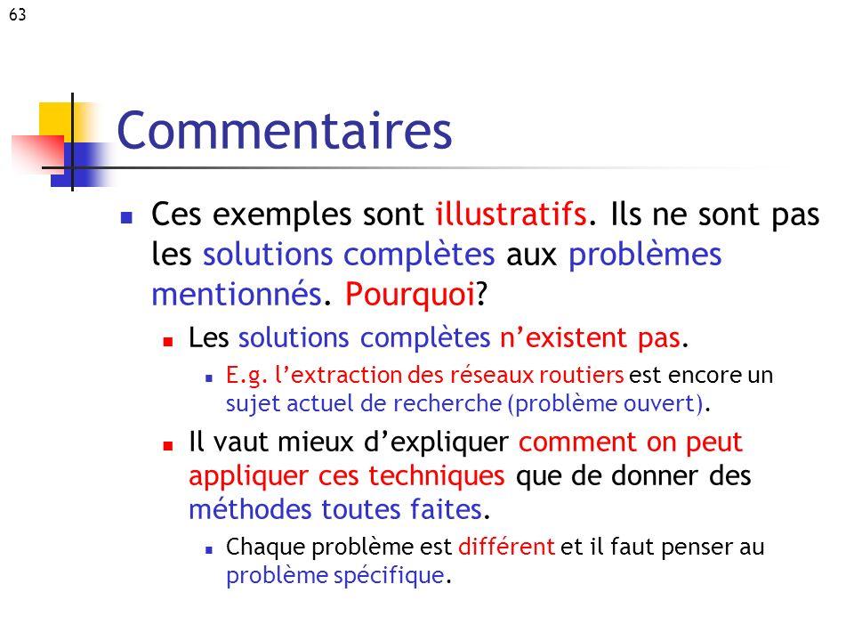 63 Commentaires Ces exemples sont illustratifs. Ils ne sont pas les solutions complètes aux problèmes mentionnés. Pourquoi? Les solutions complètes ne