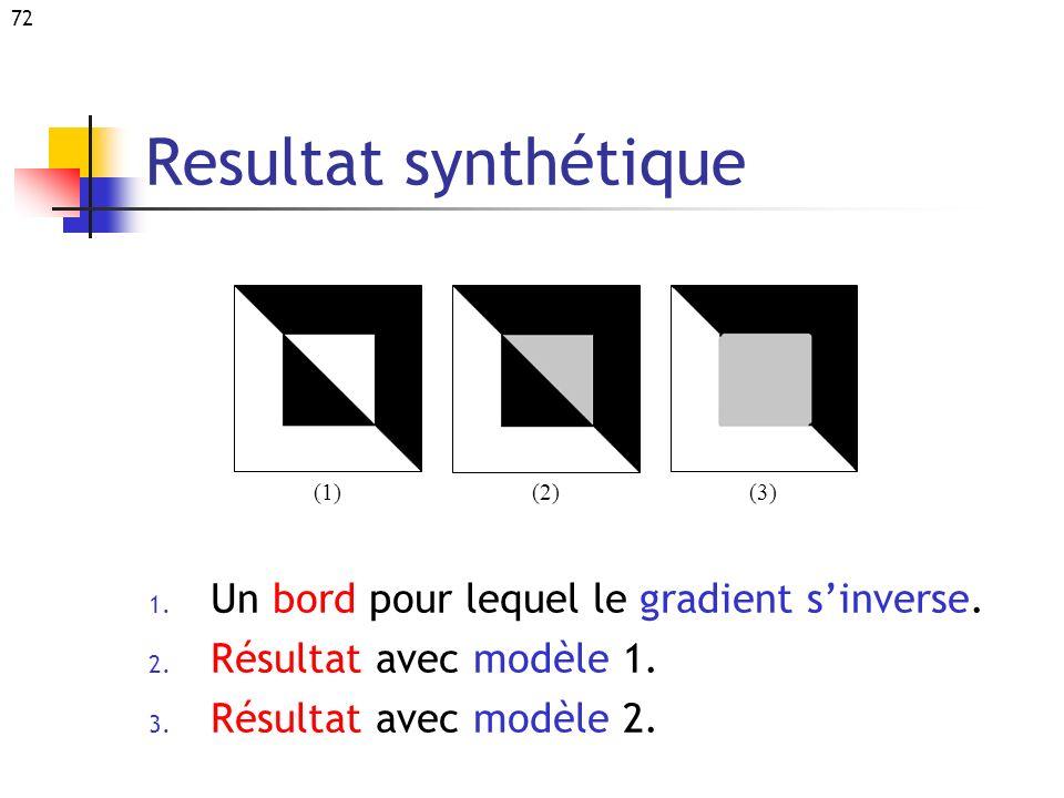 72 Resultat synthétique 1. Un bord pour lequel le gradient sinverse. 2. Résultat avec modèle 1. 3. Résultat avec modèle 2. (2) (1) (3)