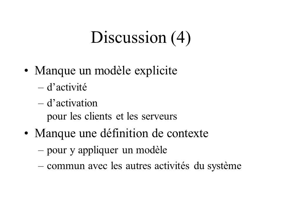 Discussion (4) Manque un modèle explicite –dactivité –dactivation pour les clients et les serveurs Manque une définition de contexte –pour y appliquer un modèle –commun avec les autres activités du système