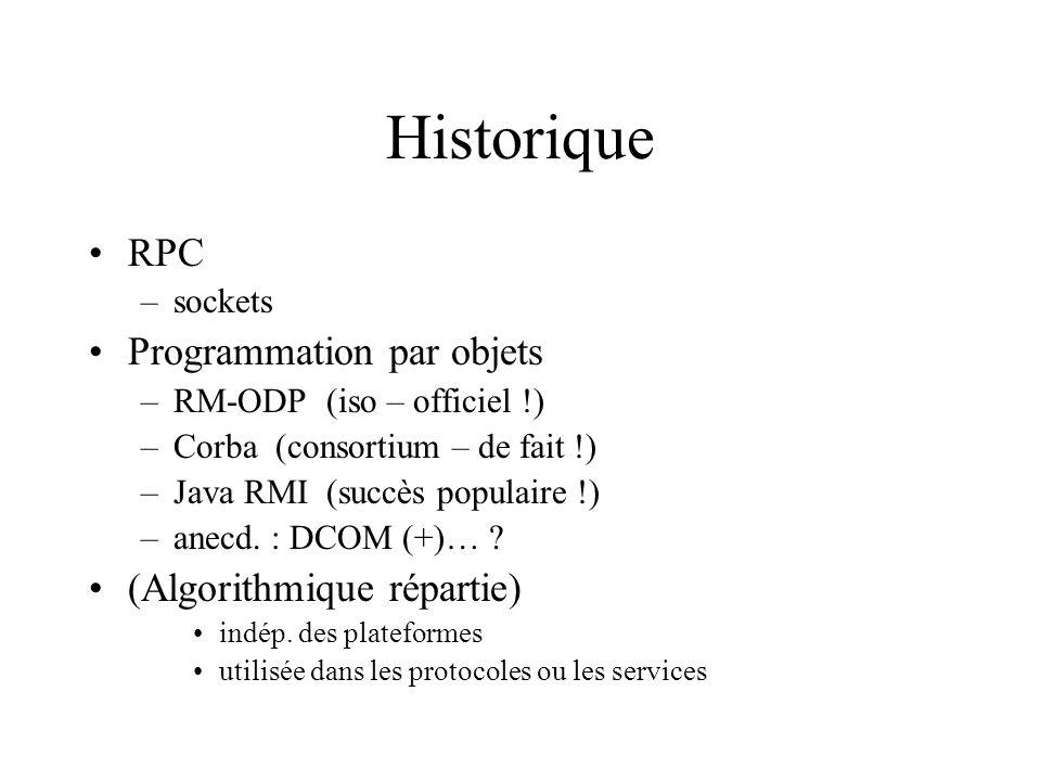 Historique RPC –sockets Programmation par objets –RM-ODP (iso – officiel !) –Corba (consortium – de fait !) –Java RMI (succès populaire !) –anecd.