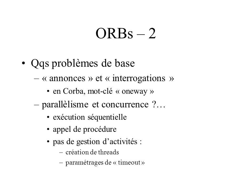 ORBs – 2 Qqs problèmes de base –« annonces » et « interrogations » en Corba, mot-clé « oneway » –parallèlisme et concurrence ?… exécution séquentielle appel de procédure pas de gestion dactivités : –création de threads –paramétrages de « timeout »