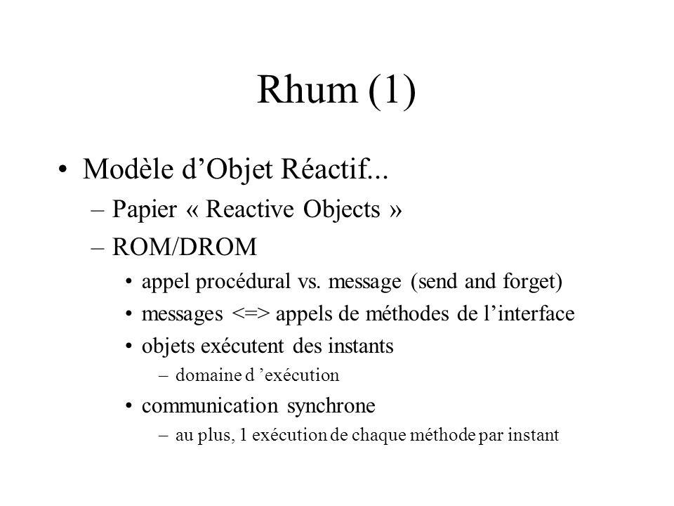 Rhum (1) Modèle dObjet Réactif... –Papier « Reactive Objects » –ROM/DROM appel procédural vs.