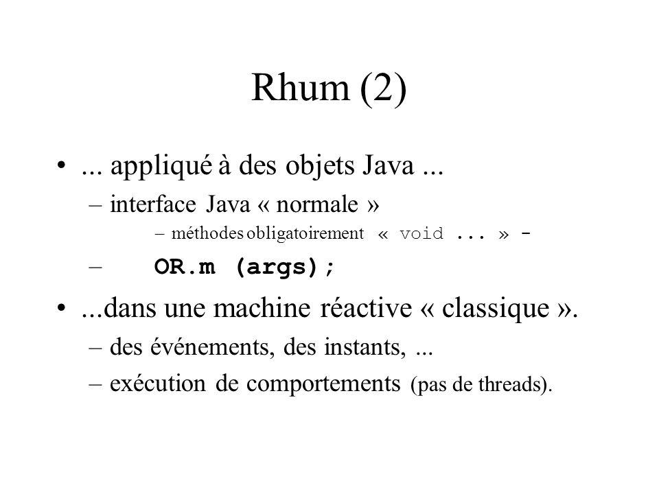 Rhum (2)... appliqué à des objets Java...
