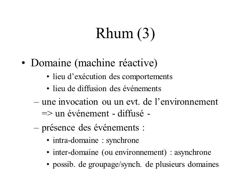 Rhum (3) Domaine (machine réactive) lieu dexécution des comportements lieu de diffusion des événements –une invocation ou un evt.